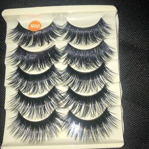 Eyelashes with blue